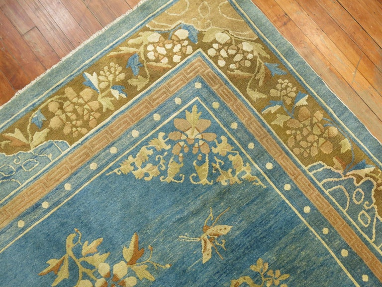 Wool Pale Blue Antique Chinese Rug For Sale