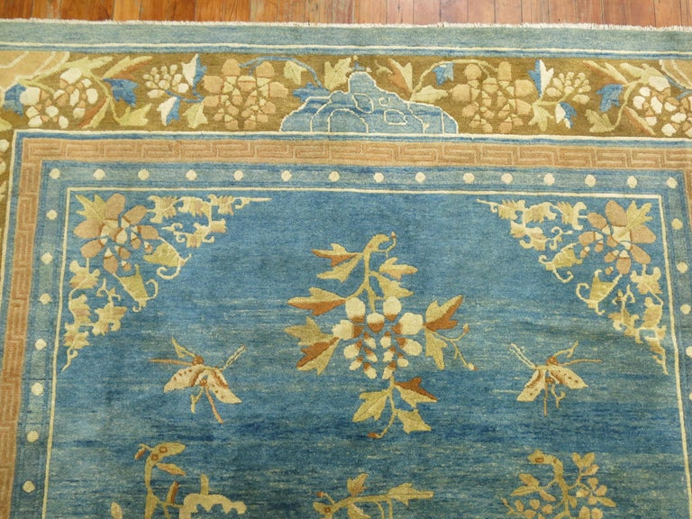 Pale Blue Antique Chinese Rug For Sale 1