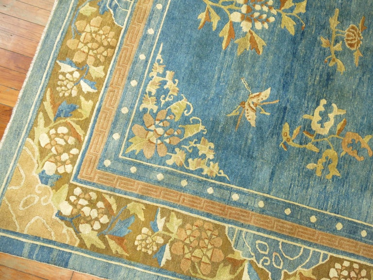 Pale Blue Antique Chinese Rug For Sale 2