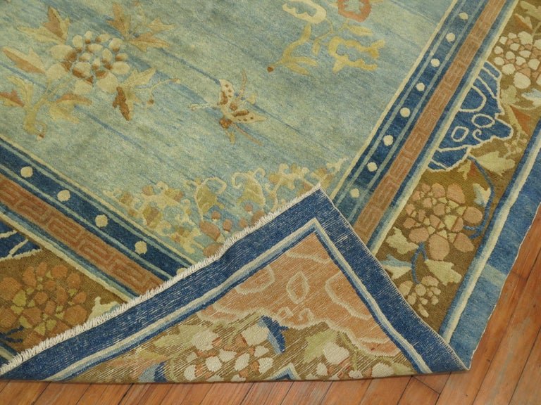 Pale Blue Antique Chinese Rug For Sale 3