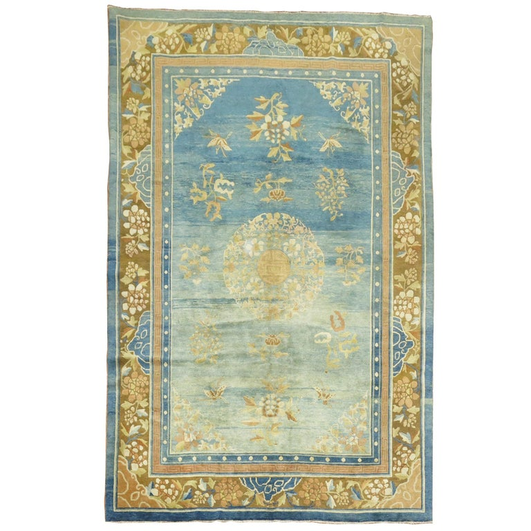 Pale Blue Antique Chinese Rug For Sale
