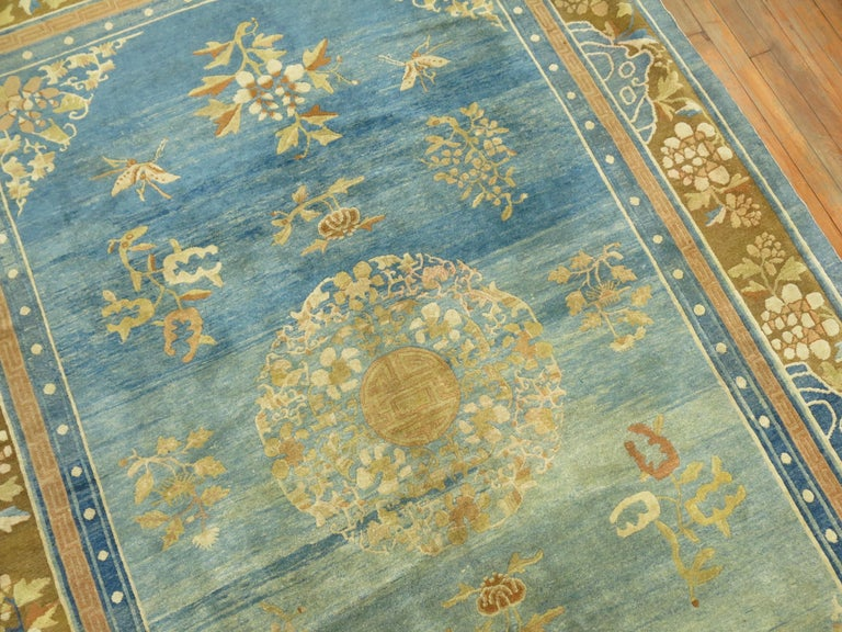 Ming Pale Blue Antique Chinese Rug For Sale