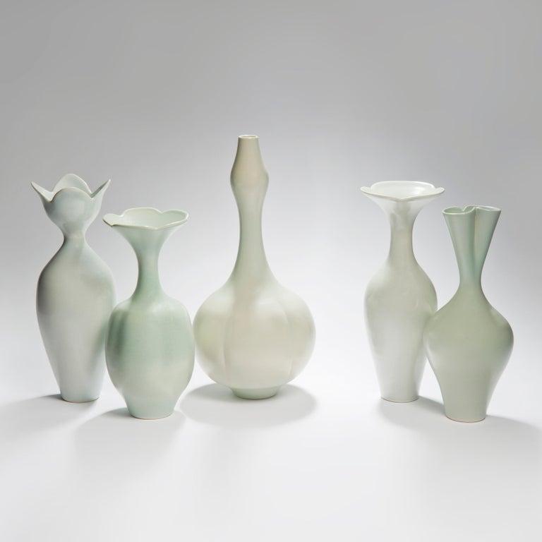 Pale Blue Flower, a Unique Celadon & Pale Blue Porcelain Vase by Vivienne Foley In New Condition For Sale In London, GB