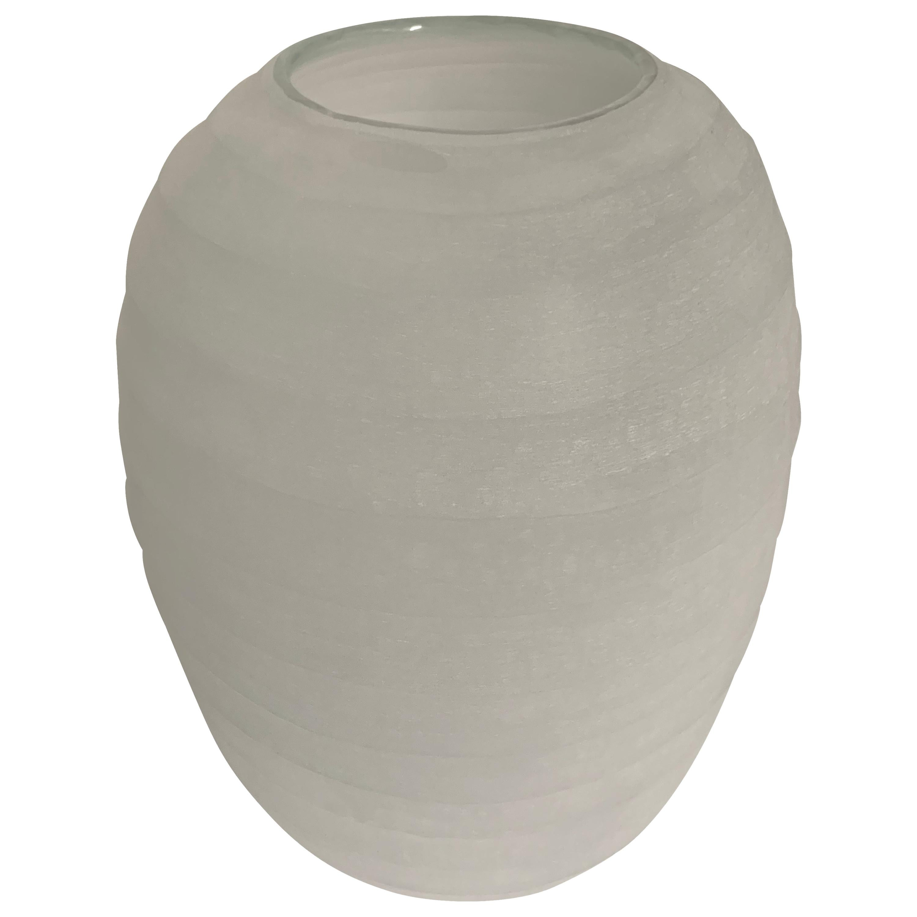 Pale Blue Frosted Glass Vase, Romania, Contemporary