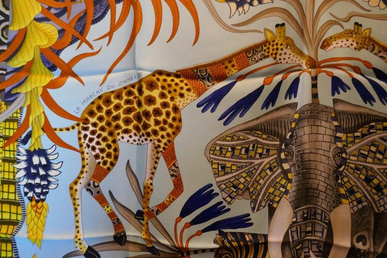 """Pale Blue HERMÈS Ardmore Artists design """"La Marche du Zambeze"""" 100% Silk Scarf,  For Sale 6"""