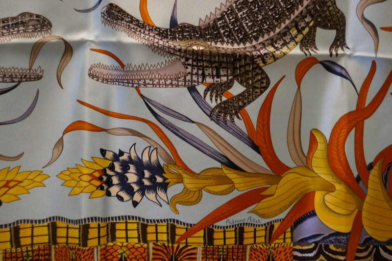 """Pale Blue HERMÈS Ardmore Artists design """"La Marche du Zambeze"""" 100% Silk Scarf,  For Sale 8"""