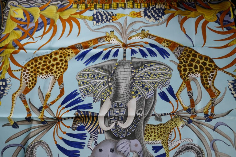 """Pale Blue HERMÈS Ardmore Artists design """"La Marche du Zambeze"""" 100% Silk Scarf,  For Sale 10"""