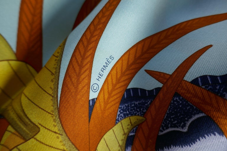"""Pale Blue HERMÈS Ardmore Artists design """"La Marche du Zambeze"""" 100% Silk Scarf, 2016   Authenticity Guaranteed made in France by Hermes and called La Marche du Zambeze in a beautiful Pale Blue  palette, offered here unused with all its tags, plump"""