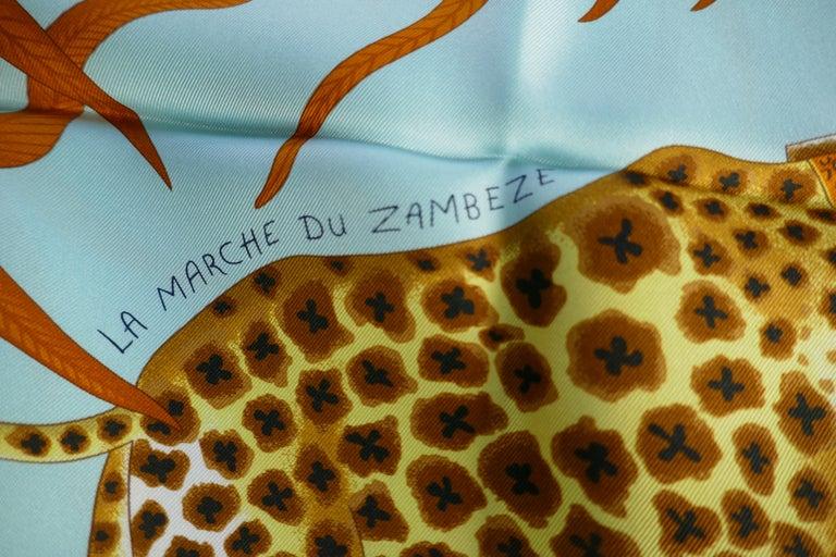 "Pale Blue HERMÈS Ardmore Artists design ""La Marche du Zambeze"" 100% Silk Scarf,  In Excellent Condition For Sale In Chillerton, Isle of Wight"