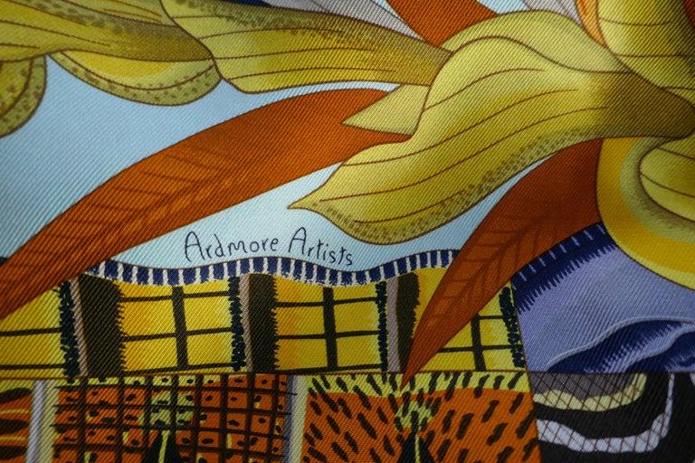 "Women's or Men's Pale Blue HERMÈS Ardmore Artists design ""La Marche du Zambeze"" 100% Silk Scarf,  For Sale"