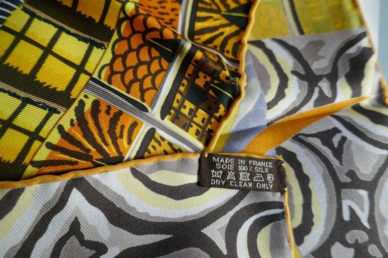 """Pale Blue HERMÈS Ardmore Artists design """"La Marche du Zambeze"""" 100% Silk Scarf,  For Sale 1"""