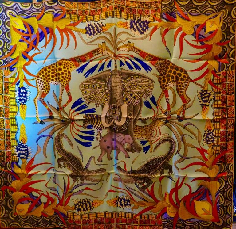 """Pale Blue HERMÈS Ardmore Artists design """"La Marche du Zambeze"""" 100% Silk Scarf,  For Sale 2"""