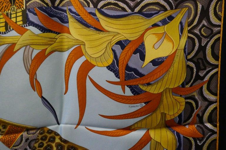"""Pale Blue HERMÈS Ardmore Artists design """"La Marche du Zambeze"""" 100% Silk Scarf,  For Sale 5"""