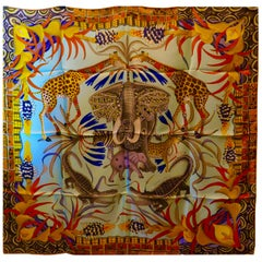 "Pale Blue HERMÈS Ardmore Artists design ""La Marche du Zambeze"" 100% Silk Scarf,"