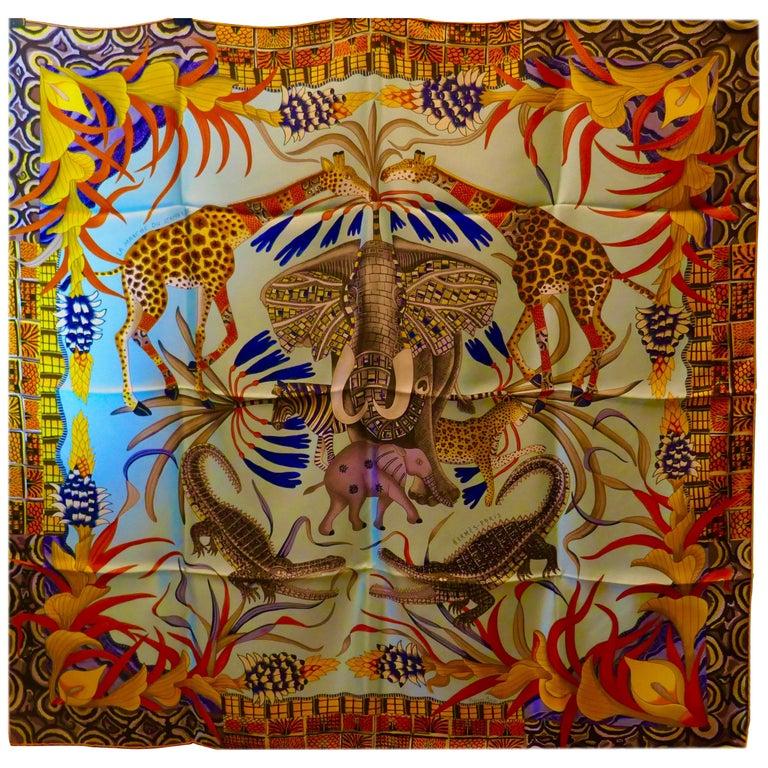 """Pale Blue HERMÈS Ardmore Artists design """"La Marche du Zambeze"""" 100% Silk Scarf,  For Sale"""