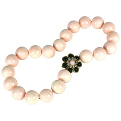 Pale Coral Laquered Mother of Pearl and Poured Glass Zinnia Necklace, MWLC
