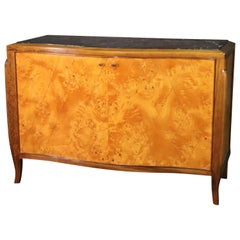 Pale Flame Birch French Art Deco Style Marble Top Sideboard Buffet Server