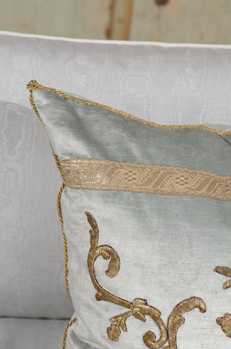 Embroidered Pale French Blue Velvet Pillow Made of Ottoman Empire Gold Metallic Embroidery For Sale