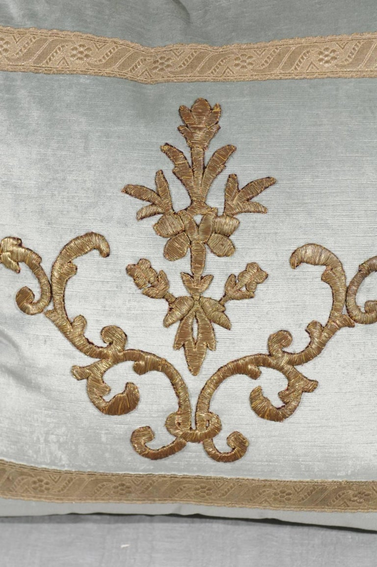 Pale French Blue Velvet Pillow Made of Ottoman Empire Gold Metallic Embroidery In Excellent Condition For Sale In Atlanta, GA