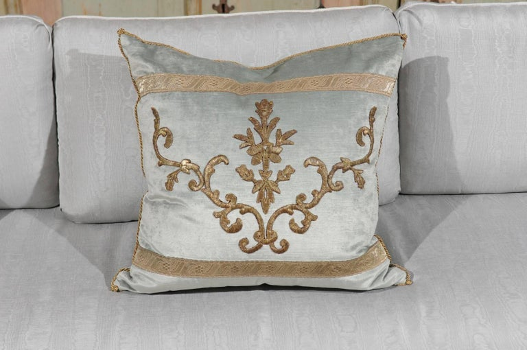Pale French Blue Velvet Pillow Made of Ottoman Empire Gold Metallic Embroidery For Sale 1