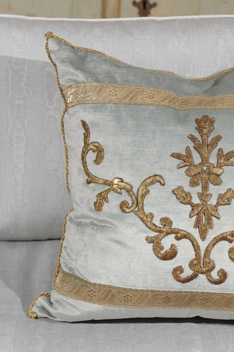 Pale French Blue Velvet Pillow Made of Ottoman Empire Gold Metallic Embroidery For Sale 2