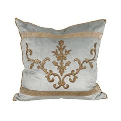Pale French Blue Velvet Pillow Made of Ottoman Empire Gold Metallic Embroidery