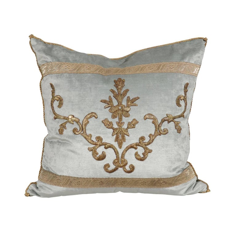 Pale French Blue Velvet Pillow Made of Ottoman Empire Gold Metallic Embroidery For Sale