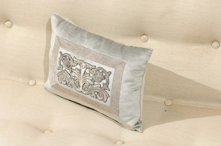 American Pale French Blue Velvet Pillow with Silver Embroidered Appliqué Foliage Décor For Sale