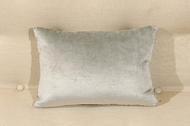 Pale French Blue Velvet Pillow with Silver Embroidered Appliqué Foliage Décor For Sale 1