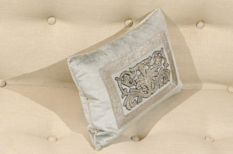 Pale French Blue Velvet Pillow with Silver Embroidered Appliqué Foliage Décor For Sale 2