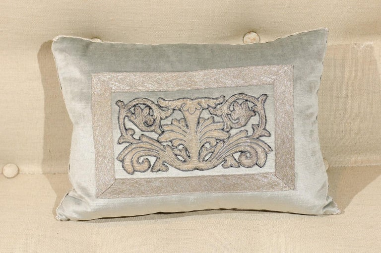 Pale French Blue Velvet Pillow with Silver Embroidered Appliqué Foliage Décor For Sale 3