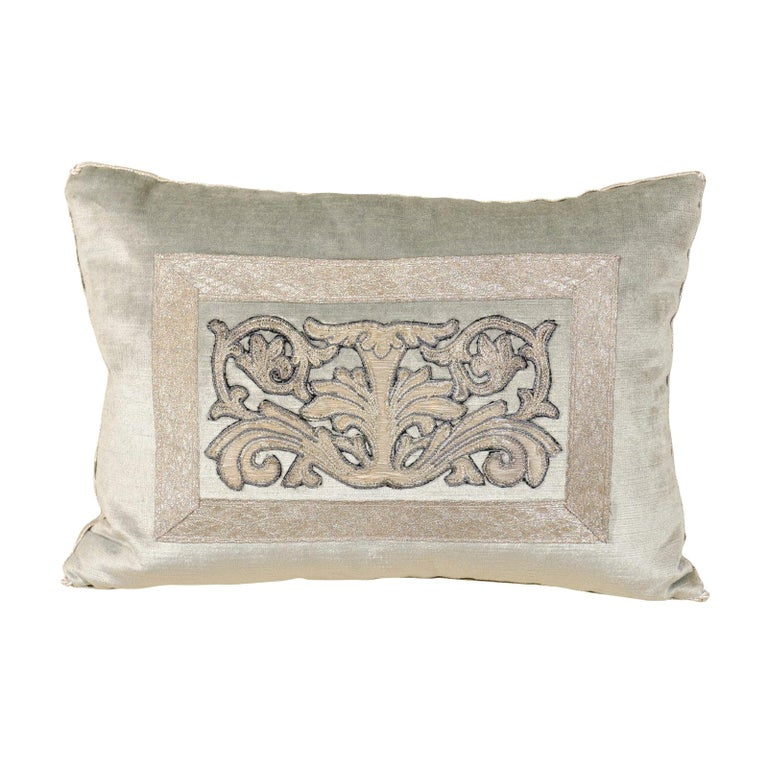 Pale French Blue Velvet Pillow with Silver Embroidered Appliqué Foliage Décor For Sale