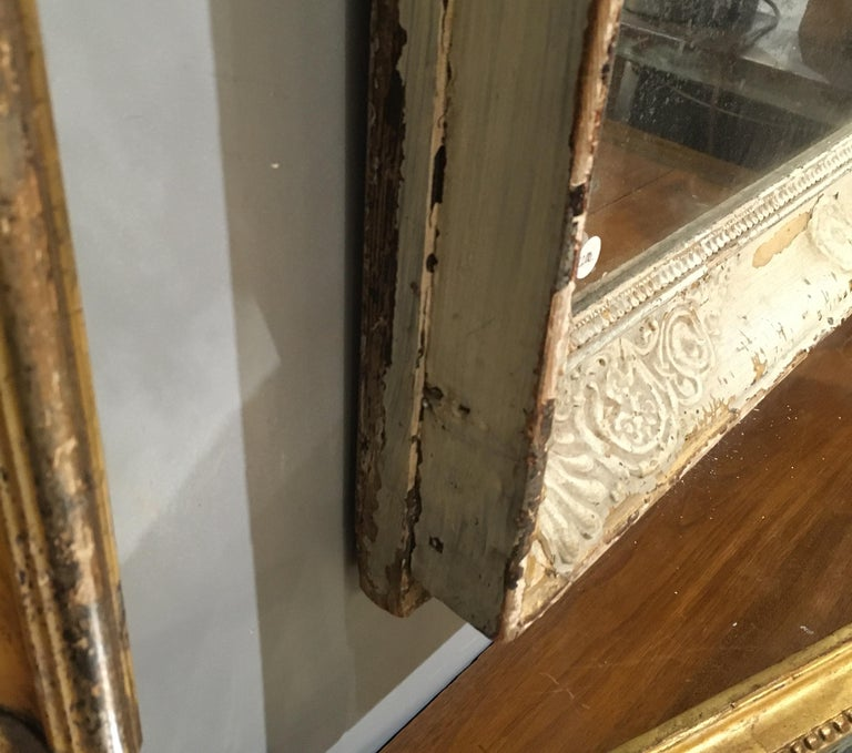 19th Century Pale French Green/Cream Frame Mirror For Sale