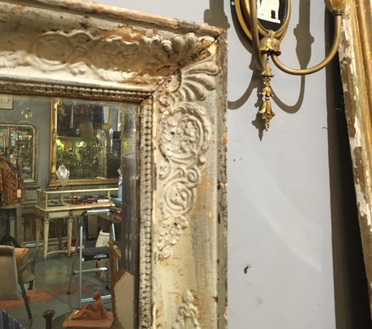 Paint Pale French Green/Cream Frame Mirror For Sale