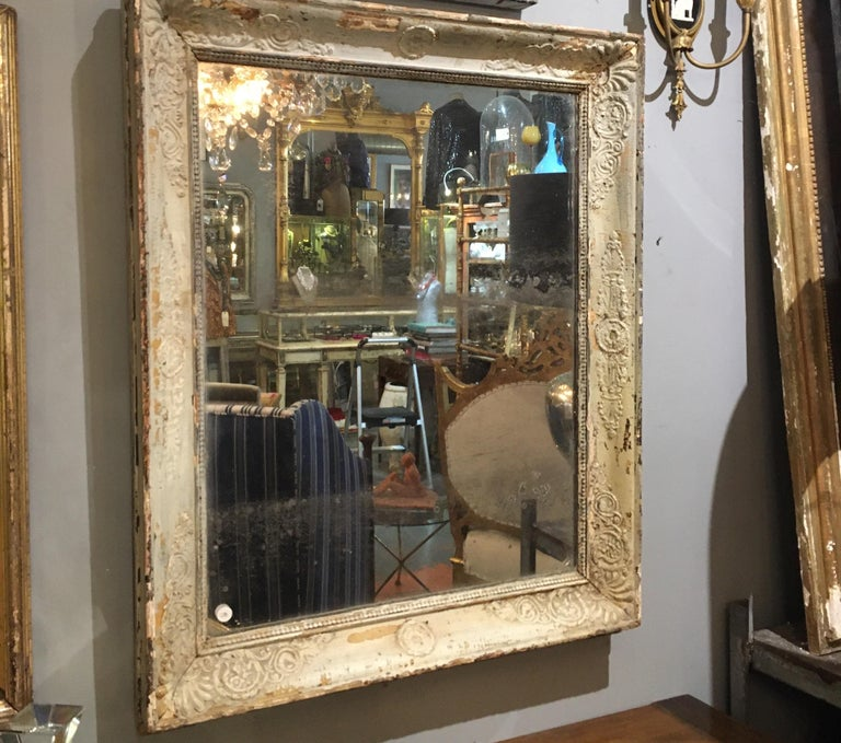 Pale French Green/Cream Frame Mirror For Sale 4