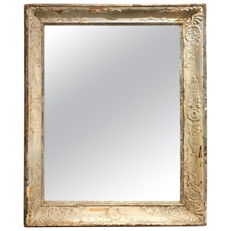 Pale French Green/Cream Frame Mirror For Sale