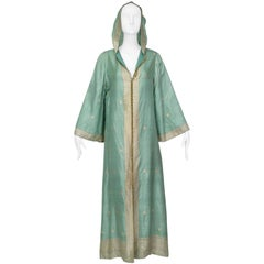 Pale Green and Gold Hooded Silk Sari Resort Kaftan with Provenance - M, 1970s