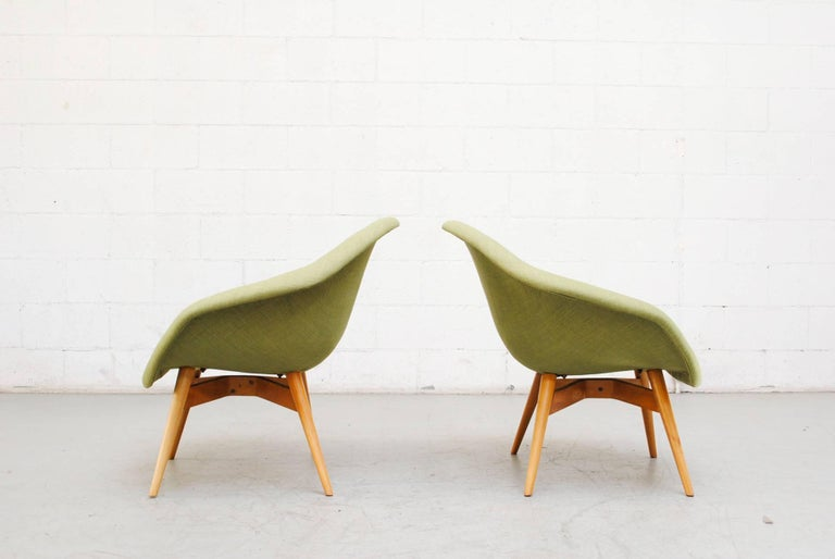 Mid-Century Modern Pale Green Bucket Lounge Chair by Miroslav Navrátil for Vertex For Sale