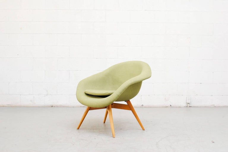 Czech Pale Green Bucket Lounge Chair by Miroslav Navrátil for Vertex For Sale