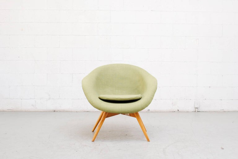 Pale Green Bucket Lounge Chair by Miroslav Navrátil for Vertex In Good Condition For Sale In Los Angeles, CA