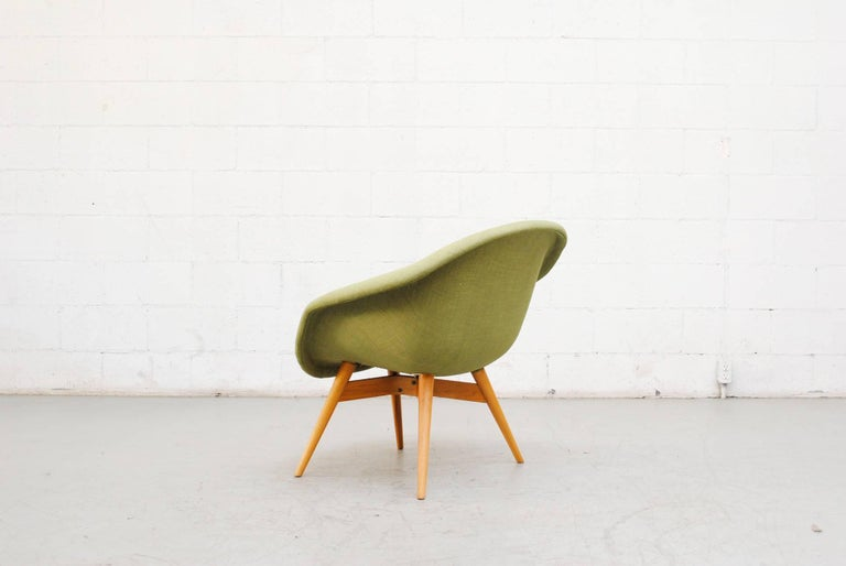Upholstery Pale Green Bucket Lounge Chair by Miroslav Navrátil for Vertex For Sale