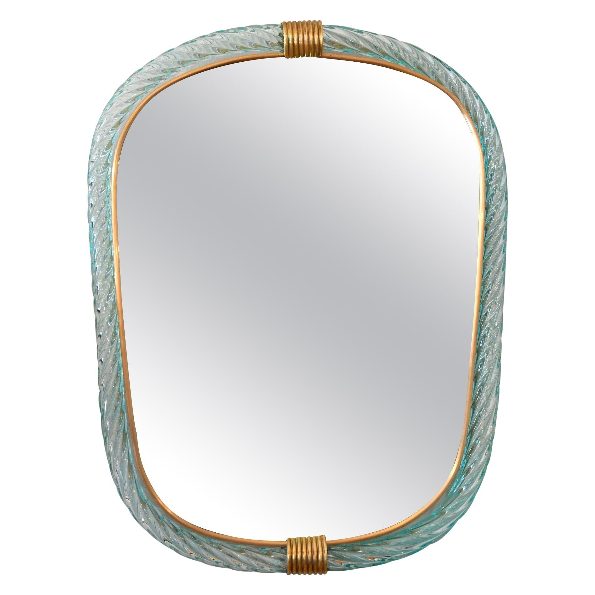 Pale Green Portrait Murano Twisted Rope 'Firenze' Mirror in the Style of Barovie