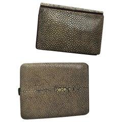 Pale Green Shagreen Art Deco Cigarette Case and Shagreen Card Case