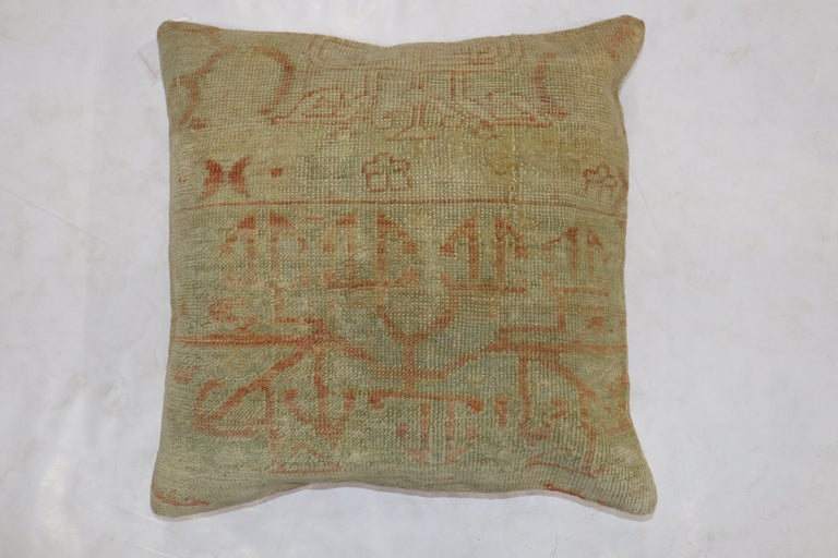 20th Century Pale Large Square Antique Turkish Oushak Rug Pillows, Set of 2 For Sale