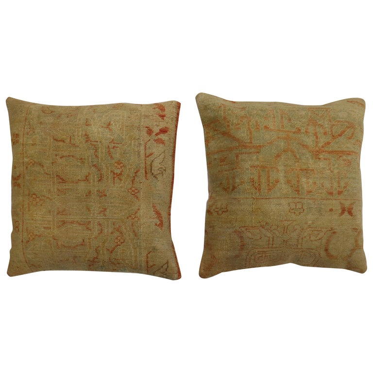 Pale Large Square Antique Turkish Oushak Rug Pillows, Set of 2 For Sale
