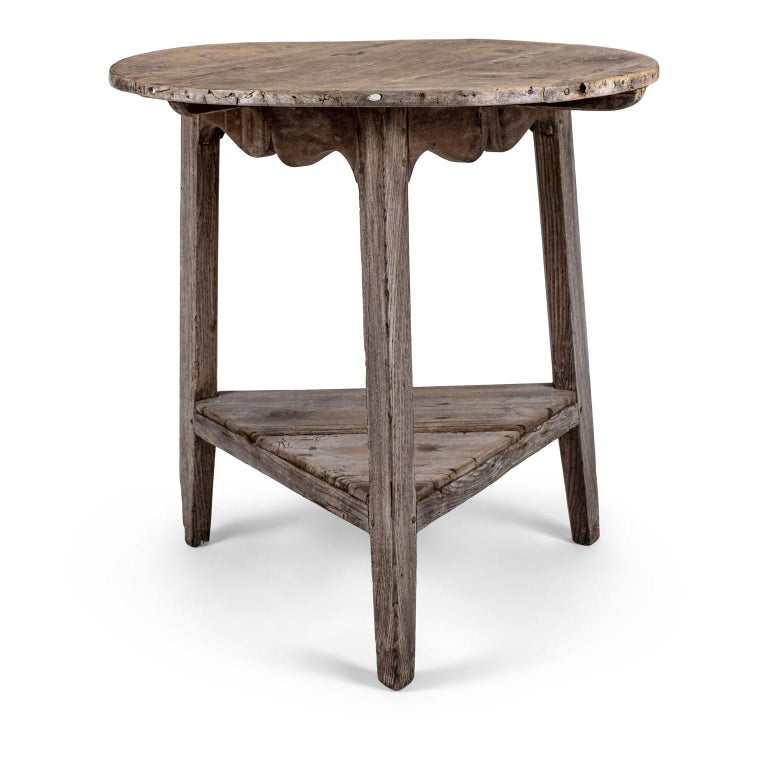 Georgian Pale Oak and Fruitwood Cricket Table For Sale