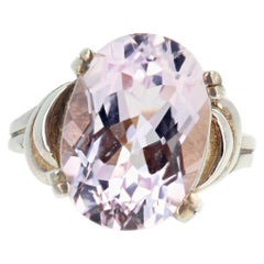 Pale Pale Pale Pink Natural 6 Carat Glittering Kunzite Sterling Silver Ring