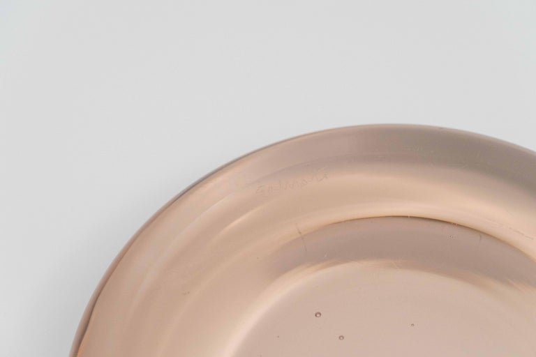 Pale Pink Blown Murano Glass Dish by Charles Pfister for Salviati, circa 1975 For Sale 2