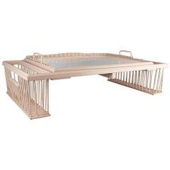 Pale Pink Hollywood Regency Adjustable Wicker Bed Breakfast Tray by Kuerne