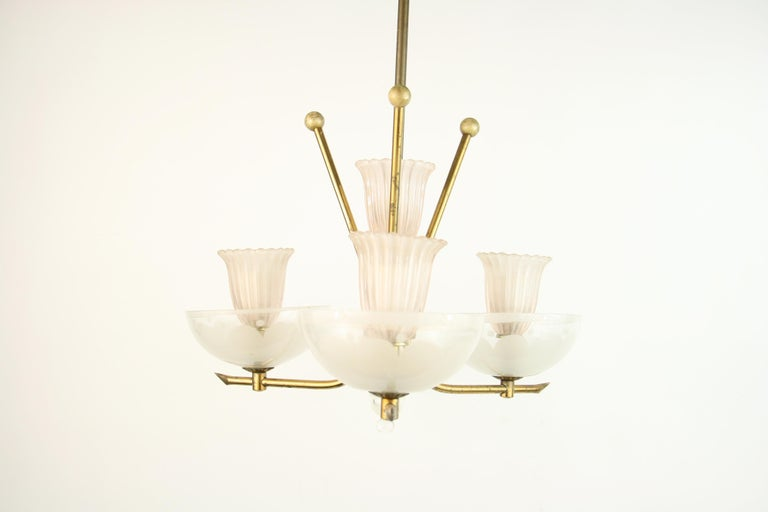Pale Pink Muranno Glass and Brass 3-Light Chandelier In Good Condition For Sale In Douglas Manor, NY